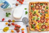 Plattenkuchen aus Tomaten und Ziegenkäse